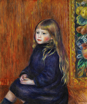 Enfant assis en robe bleue Portrait dEdmond Renoir Jr. 1889 PAR3234